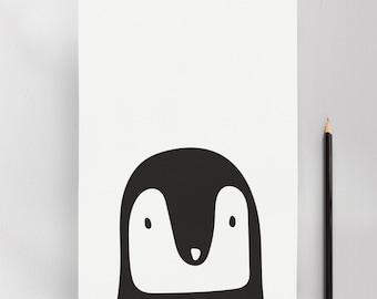 Monochrome Penguin, Modern Nursery Kids Wall Art Print