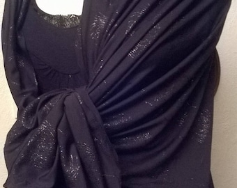 Shawl in black and silver color polyamide