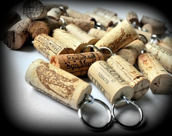 SALE 25 Wine Cork Keychains, Great Favors for Weddings Parties or Showers, Wine Decor, Unique Wedding Favors, Wine Gift, Wine Themed Wedding