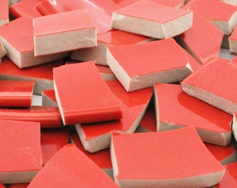 Broken China Mosaic Tiles - Solid Red - Smooth - Set of 100