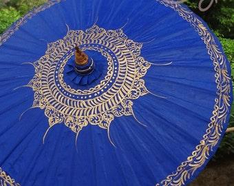 Hand Painted Blue Waterproof Parasol, Blue Umbrella, Blue Parasol, Umbrella, Parasol, Wedding Parasol, Waterproof Parasol, Parasol Umbrella