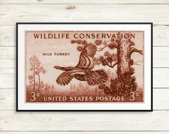 Wild turkey, turkey, turkeys, wild turkey art, wild turkey posters, wild turkey artwork, vintage wildlife, conservation posters, US postage