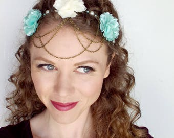 Fairytale Flower Circlet in Mint and Eggshell White