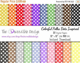 ON SALE Polka Dots Inspired digital paper pack for scrapbooking, Making Cards, Tags and Invitations, Instant Download