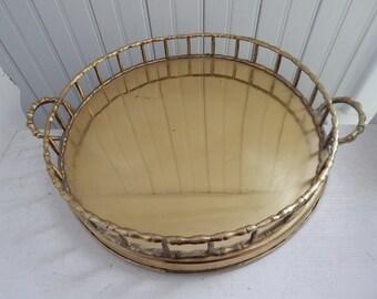 Round Brass Faux Bamboo Dresser Vanity Tray - Mid Century Modern Brass Accessory - Serving, Bar, Dresser, Vanity Tray - Large Brass Tray
