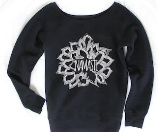 Namaste Flower - Namaste Sweater - Namaste Shirt - Yoga Apparel - Yoga Clothes - Yoga Sweater - Sweatshirt - Gift for Yogi - Yoga Gift SW1