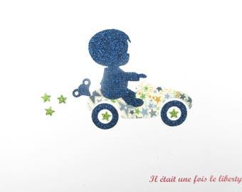 Applied shape in your little boy on a car in liberty Adelajda blue and green + flex glitter collection patterns liberty coat