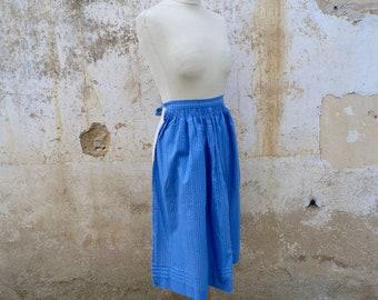Vintage 1970/70s Tyrol Austria Trachten dirndl floral  blue floral cotton apron