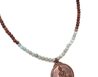 gemstone & buddha pendant necklace, opal bead necklace, buddha charm necklace, buddha pendant necklace, buddha necklace, buddha jewelry