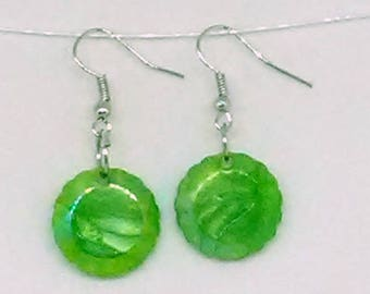 Green Flat Faceted Round Charm Earrings