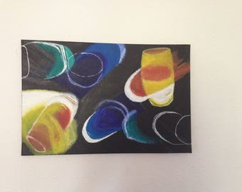 """Paint and art deco reproduction """"stained glass"""" abstract painting"""