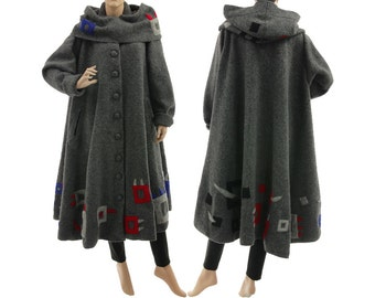 Grey boho coat from boiled wool, grey fall winter spring coat with separate hood, lagenlook grey wool hooded coat plus size XL-XXXL US 20-26