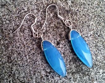 Wild Blue Yonder- Sterling Silver Blue Chalcedony Drop Earrings