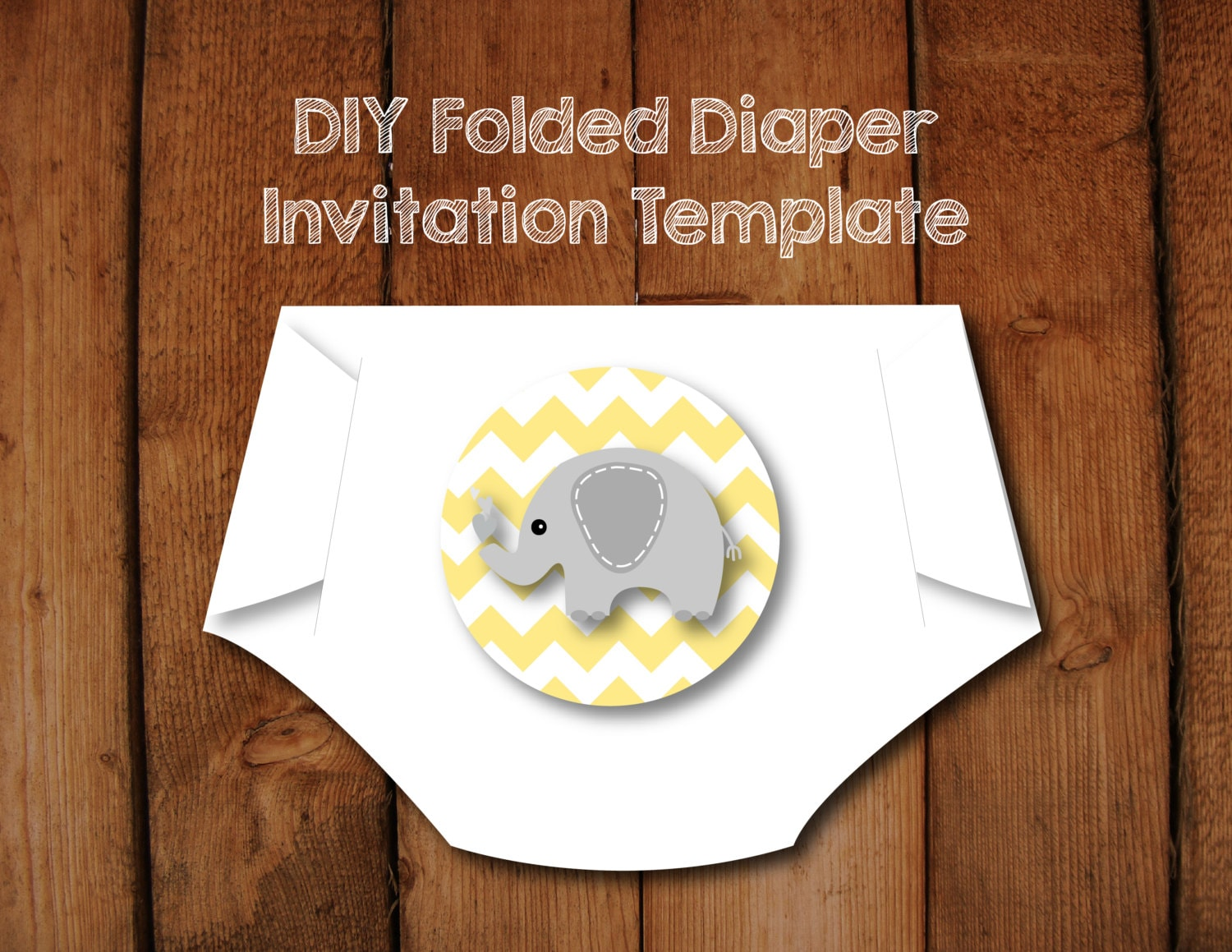 Diaper Invitation Template DIY Pattern with Instructions Make
