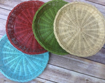 Wicker Paper Plate Holders FOUR Picnic Colorful Painted Upcycled, Turquoise, Red, Cream, Green, Summer Outdoor Dining