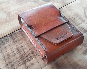 Gift for Dad, leather tobacco case, vintage leather tobacco, cigarette case, handmade cigarette box, Father's Gift