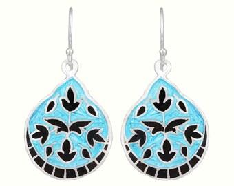 Blue Enamel Earrings,Sterling Silver Drop Earrings,Meenakari Earrings,Floral Design Earrings,Handmade Earrings,Women's Day Gift,Gift for Her