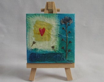 Flower Miniature Mixed Media Painting (Complete With Easel) - Flower, Forget Me Not, Art, SALE