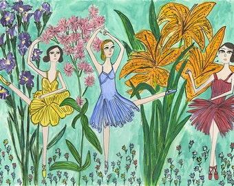 Rite of spring. Original mixed media painting by Vivienne Strauss.