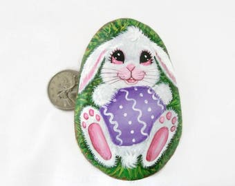 Painted rock, Easter bunny painted stone, Easter egg, Easter rabbit, custom egg, personalized Easter egg, Easter basket, colored egg, Easter