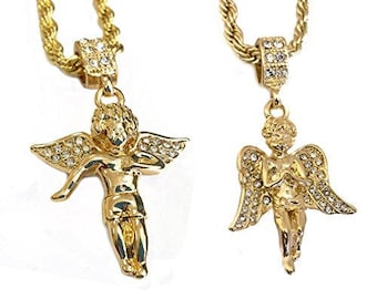 18k Gold Plated Double Chain Layered Necklace with Two Angel Piece Pendants