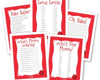 Ladybug Baby Shower Game Pack - 5 Instant Download & Print Games