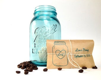 Coffee Wedding Favors. Set of 50 freshly roasted coffee favors with custom rubber stamp by Apropos Roasters.