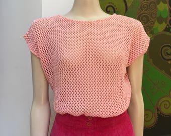 80s Vintage MESH knit top M