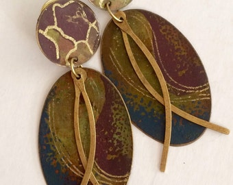 Vintage boho chic copper fired earrings great colors and style