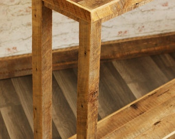 Sofa Table with Chevron Detail on top - Reclaimed wood - Barn Wood