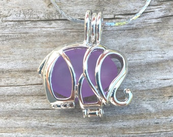 Sea Glass Purple  Elephant Necklace Locket by Wave of Life