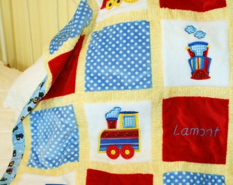 "Appliqued Train Minky Quilt  ""All Aboard the Fun Train"""