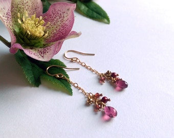 Garnet drop earrings with Pearls and Gold. Rich and elegant drops