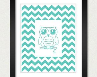 Chevron Poster - Owl Poster / Owl Chevron Print / Owl Print - Geometric Print - Wall Poster - 8x10 or 13x19 Poster