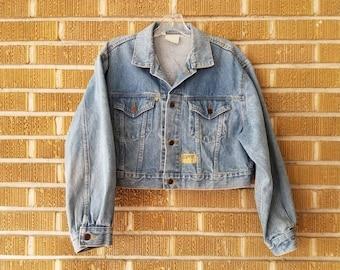80s/90s ESPRIT denim jacket, cropped, light wash -medium-