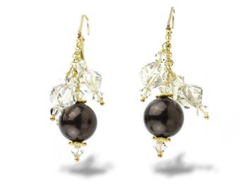 Dangle Drop Earrings in Brown Almond and Silver Shade Swarovski Crystals in Gold