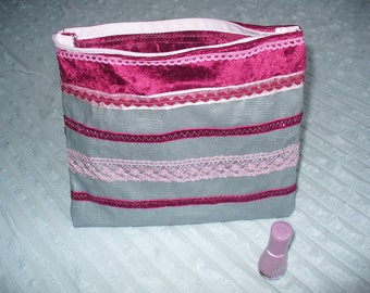 purse treasure girl gray faux leather, ribbons and lace pink and Burgundy