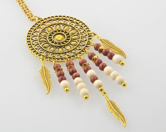 Long Golden Pendant with natural pearls feathers
