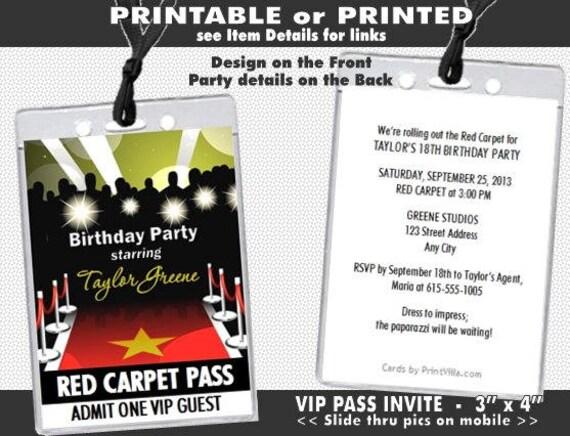 Red carpet paparazzi vip pass birthday party invitations like this item stopboris Images