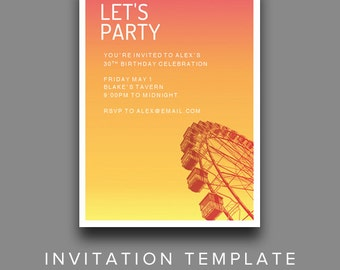 Sunset Ferris Wheel Invitation Template - Editable Party Invitation Printable for MS Word