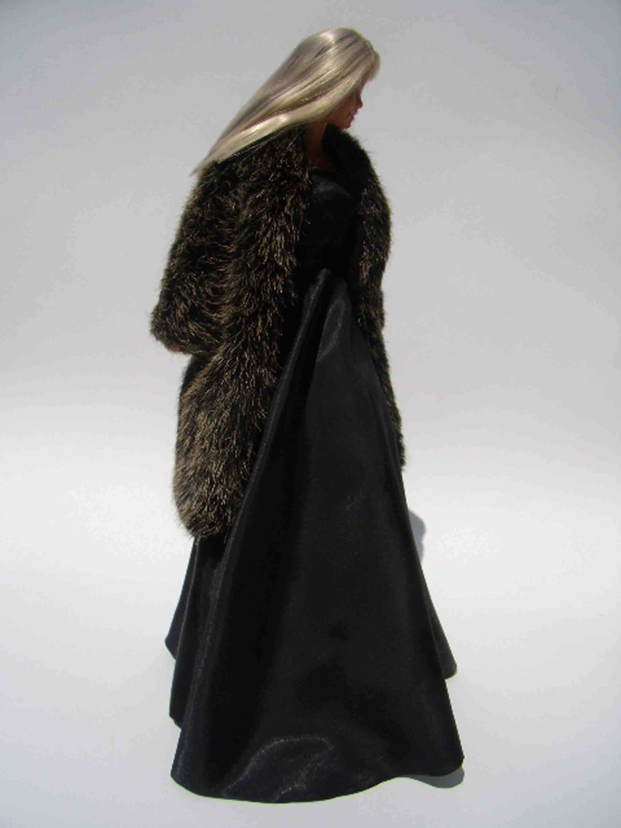 B1-10 Black Evening Gown and coat for Barbie Silkstone