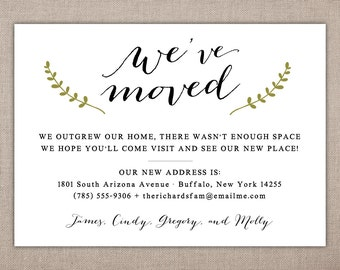 MOVING ANNOUNCEMENT - Printable Card, Simple Address Change, New Nest Greeting, Simple Housewarming, We have Moved Printables, New Home Card
