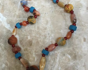 Wool felted and Vintage Bead Necklace, Cancun