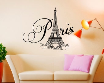 Paris Wall Decal Vinyl Lettering  Paris Bedroom Decor  Paris Eiffel Tower  Wall Decal