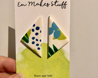 Jungle fever large triangle stud earrings