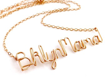 Brooklyn Mama Necklace. Rose Gold Brooklyn Mama Custom Necklace. Mother's Day Necklace. Bklyn Necklace.