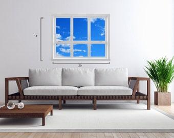"Framed 1-Panel Canvas Gallery Wrap Blue Sky Through Window Frame 16"" x 20"""