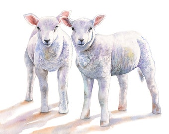 Lamb print of watercolour painting 5 by 7 size smallest print L8315 - Nursery art for baby - country kitchen decor