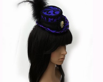 Victorian Top Hat with Cuffs and Gothic Skull Cameo in Iridescent Purple and Black