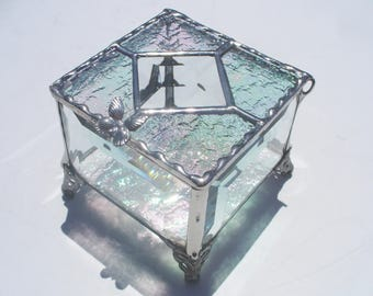 Glittering Glass, Stained Glass Jewelry Box, With Cut Glass Bevels, and Handle of Your Choice
